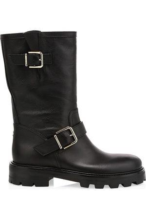 Jimmy Choo Women's Biker II Leather Mid-Calf Boots - - Size 37 (7)