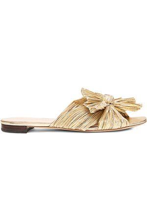 Loeffler Randall Women's Daphne Flat Metallic Leather Sandals - - Size 10.5
