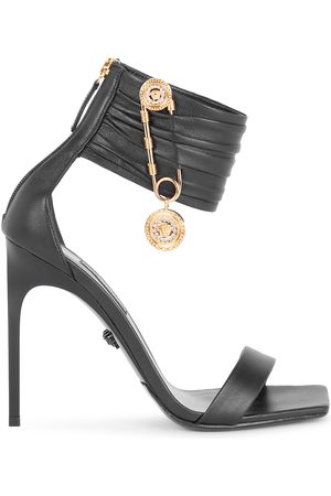 VERSACE Women's Safety Pin Ankle-Cuff Leather Sandals - - Size 40.5 (10.5)