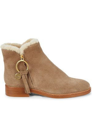 See by Chloé Women's Louise Shearling-Lined Suede Ankle Booties - - Size 39.5 (9.5)