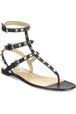 VALENTINO Women's Garavani Rockstud Ankle-Strap Leather Thong Sandals - - Size 40.5 (10.5)