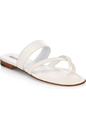 Manolo Blahnik Women's Susa Leather Thong Sandals - - Size 37 (7)