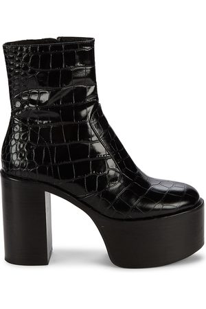 SIMON MILLER Women's High Raid Embossed Platform Leather Boots - - Size 41 (11)