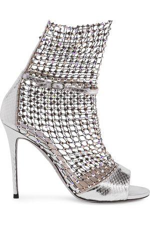 RENÉ CAOVILLA Women's Galaxia Crystal Mesh Metallic Snakeskin Sandals - - Size 40 (10)