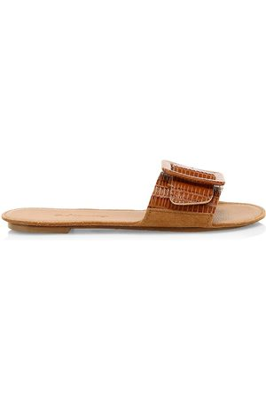 DEFINERY Women's Loop Lizard-Embossed Leather Flat Sandals - - Size 36 (6)