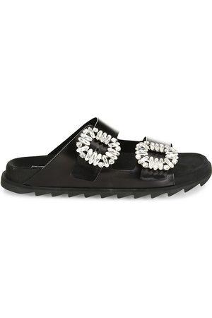 Roger Vivier Women's Slidy Viv Embellished Leather Slides - - Size 41 (11) Sandals