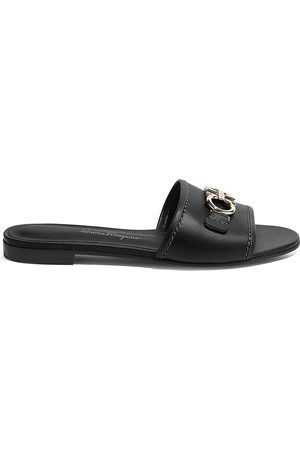 Salvatore Ferragamo Women's Rhodes Flat Leather Sandals - - Size 9 C