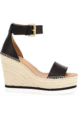 See by Chloé Women's Glyn Leather Platform Espadrille Wedge Sandals - - Size 41 (11)