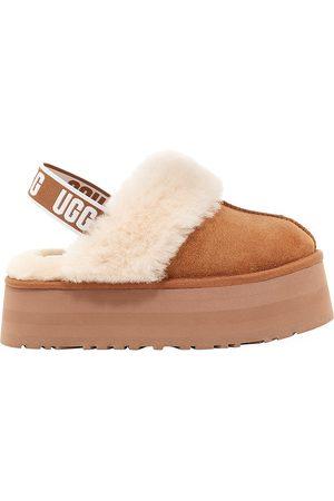 UGG Women Platforms - Women's Funkette Sheepskin-Lined Suede Platform Slingback Slippers - Chestnut - Size 9