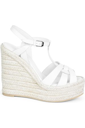 Saint Laurent Women's Tribute Leather Espadrille Wedge Sandals - - Size 41.5 (11.5)