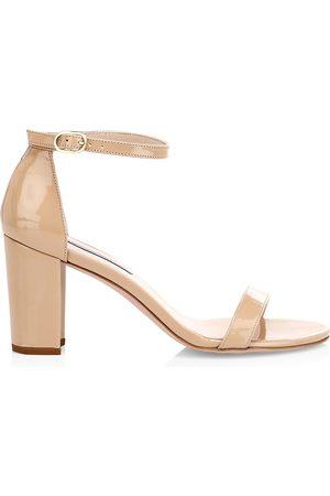Stuart Weitzman Women's Nearlynude Block-Heel Patent Leather Sandals - - Size 9