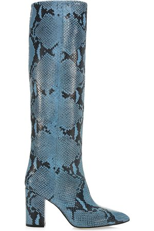 PARIS TEXAS Women's Knee-High Python-Embossed Leather Boots - - Size 38.5 (8.5)