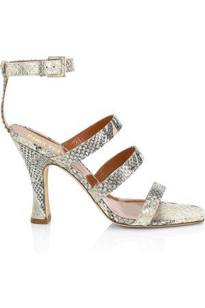PARIS TEXAS Women's Ankle-Cuff Lamé Python-Embossed Leather Sandals - - Size 41 (11)