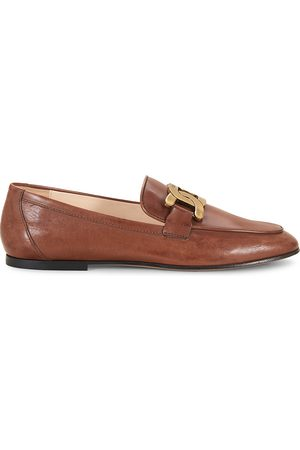 Tod's Women's Almond-Toe Leather Loafers - - Size 41 (11)