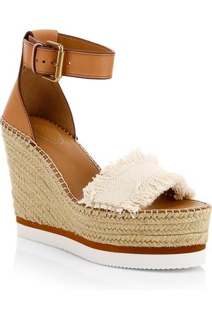 See by Chloé Women's Glyn Leather & Canvas Platform Espadrille Wedge Sandals - - Size 41 (11)