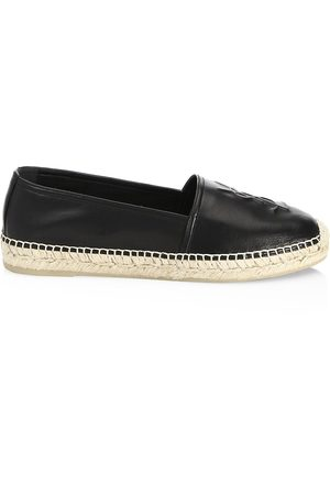 Saint Laurent Women's Logo Leather Espadrilles - - Size 34.5 (4.5)