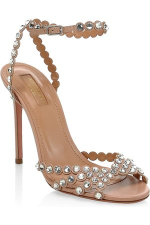 Aquazzura Women's Tequila Crystal-Embellished Leather Sandals - - Size 41 (11)