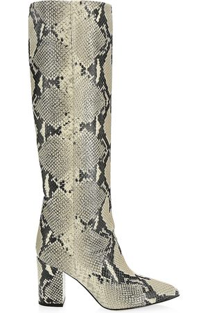PARIS TEXAS Women's Knee-High Python-Embossed Leather Boots - - Size 38 (8)