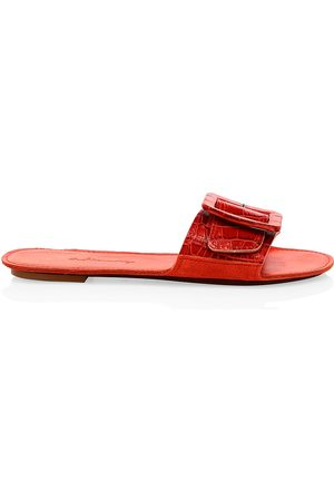 DEFINERY Women's Loop Croc-Embossed Leather Flat Sandals - - Size 35 (5)