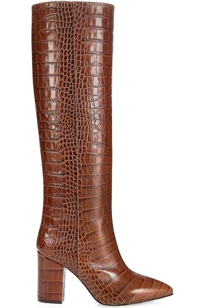 PARIS TEXAS Women's Knee-High Croc-Embossed Leather Boots - - Size 39.5 (9.5)