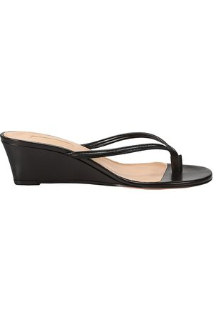 Aquazzura Women's Pedi Leather Wedge Thong Sandals - - Size 35 (5)