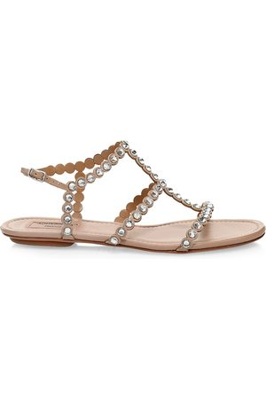 Aquazzura Women's Tequila Crystal-Embellished Leather Flat Sandals - - Size 35.5 (5.5)