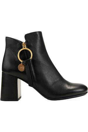 See by Chloé Women's Louise Block-Heel Leather Ankle Boots - - Size 35 (5)