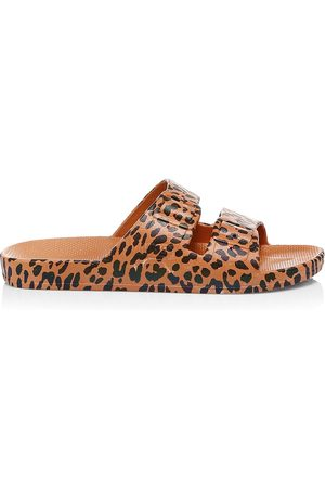 Freedom Moses Women's Leopard-Print Plastic Pool Slides - - Size 40-41 (10-10.5) Sandals