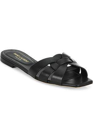 Saint Laurent Women's Tribute Leather Slides - - Size 39.5 (9.5) Sandals