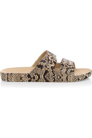 Freedom Moses Women's Snake-Print Plastic Pool Slides - - Size 5 Sandals