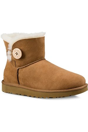 UGG Women's Mini Bailey Button Sheepskin-Lined Suede Ankle Boots - - Size 10