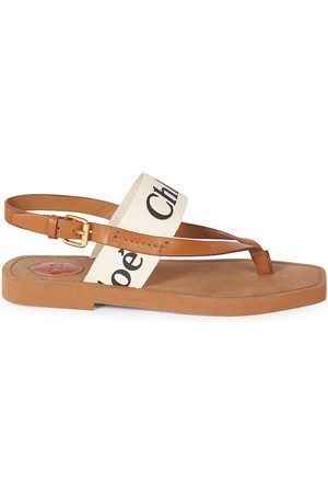 Chloé Women's Woody Flat Leather Thong Slingback Sandals - - Size 41 (11)