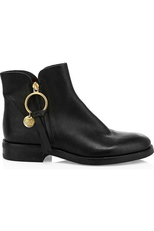 See by Chloé Women's Louise Flat Leather Ankle Boots - - Size 40.5 (10.5)
