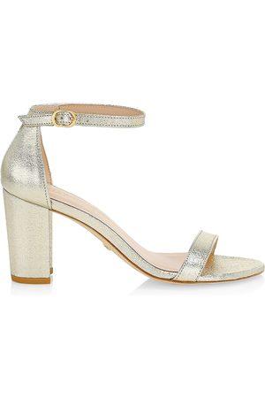 Stuart Weitzman Women's Nearlynude Block-Heel Metallic Leather Sandals - - Size 9