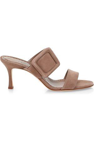 Manolo Blahnik Women's Gable Buckle Suede Mules - - Size 38.5 (8.5)