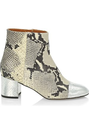 PARIS TEXAS Women's Snakeskin-Embossed & Metallic Croc-Embossed Leather Ankle Boots - - Size 38.5 (8.5)