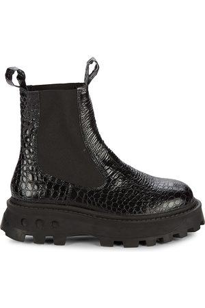 SIMON MILLER Women's Scrambler Croc Embossed Leather Boots - - Size 41 (11)