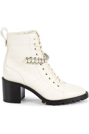 Jimmy Choo Women's Cruz Embellished Leather Combat Boots - - Size 41 (11)