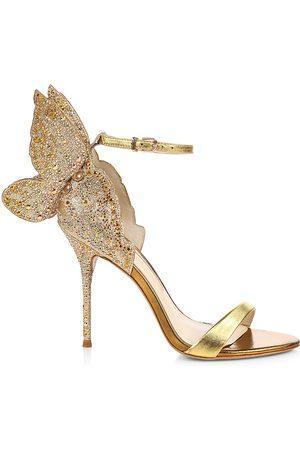 SOPHIA WEBSTER Women Sandals - Women's Chiara Embellished Glitter & Metallic Leather Sandals - - Size 9.5