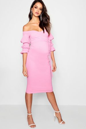 Boohoo Womens Maternity Off Shoulder Detail Midi Dress - - 4
