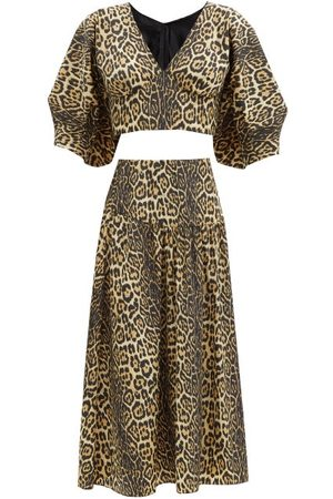 Julie De Libran Gilda Leopard-print Two-piece Crop Top & Skirt - Womens - Animal