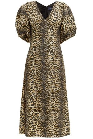 Julie De Libran Gilda Puff-sleeve Leopard-print Taffeta Midi Dress - Womens - Animal
