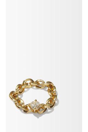 Lizzie Mandler Women Rings - Knife Edge Diamond & 18kt Chain Ring - Womens