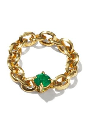 Lizzie Mandler Knife Edge Emerald & 18kt Chain Ring - Womens