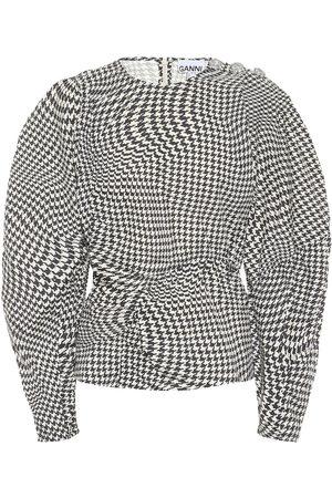 Ganni Houndstooth cotton-poplin top