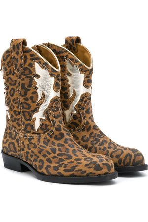 GALLUCCI Girls Ankle Boots - Leopard print cowboy boots