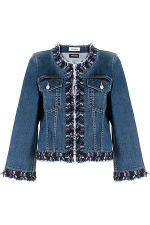 Coohem Tweed-trimmed collarless denim jacket