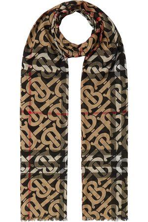 Burberry Monogram-pattern check scarf - Neutrals
