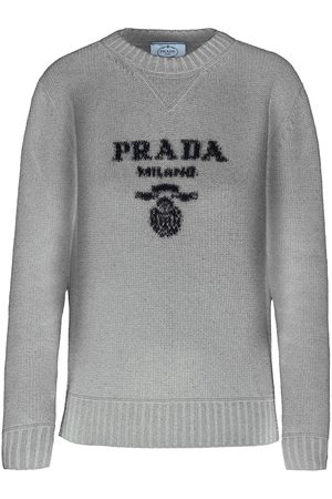 Prada Women Sweaters - Intarsia-knit logo jumper - Grey
