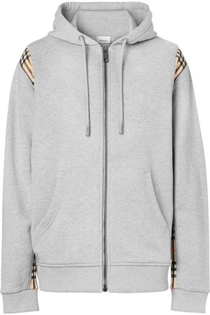 Burberry Check-panel hoodie - Grey